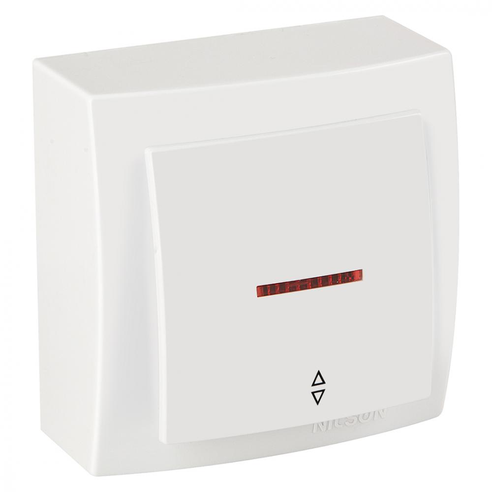 Выключатель nilson 1оп проходной с подсветкой белый themis naturel 26111008