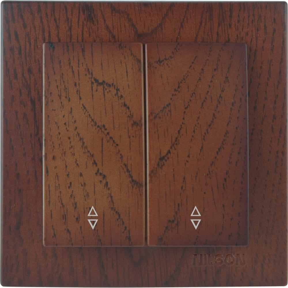 Выключатель nilson 2сп проходной орех touran wood 24271009