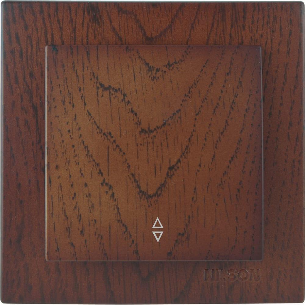 Выключатель nilson 1сп проходной орех touran wood 24271007