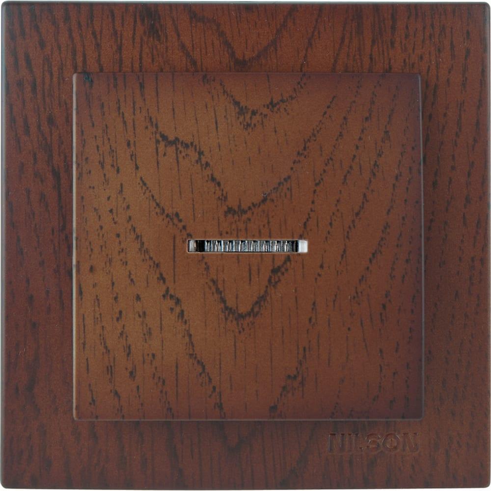 Выключатель nilson 1сп с подсветкой орех touran wood 24271002