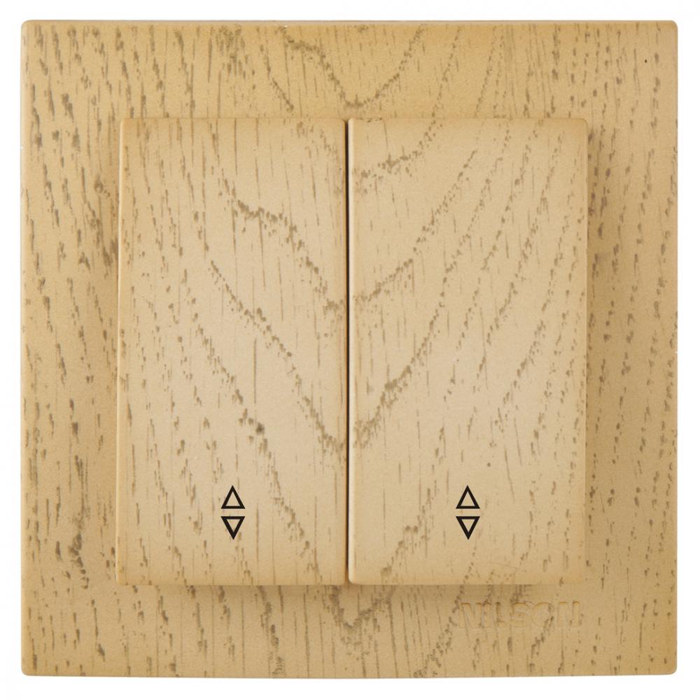 Выключатель nilson 2-кл. су проходной, touran wood, клён 24281009