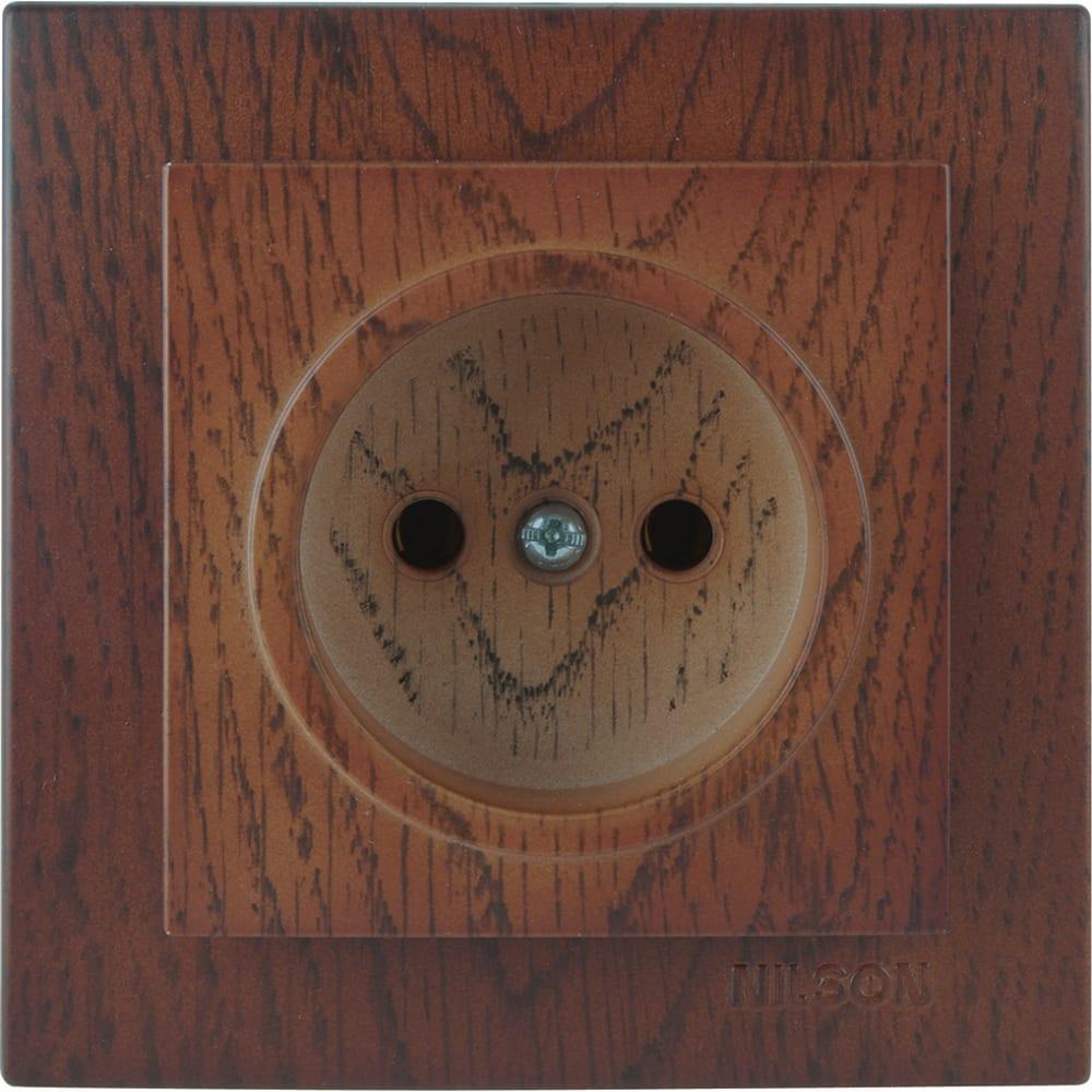 Розетка nilson 1сп орех touran wood 24271015