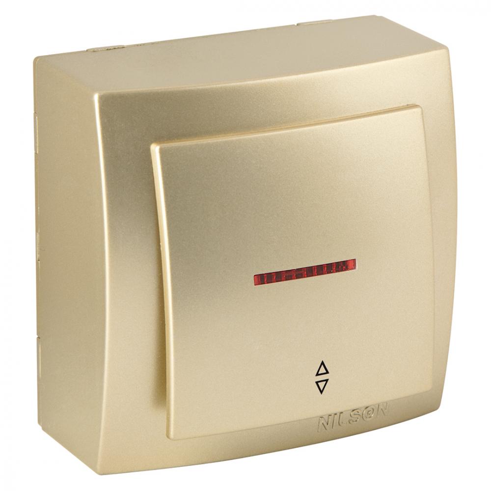 Выключатель nilson 1оп проходной с подсветкой золото themis metallic 26151008