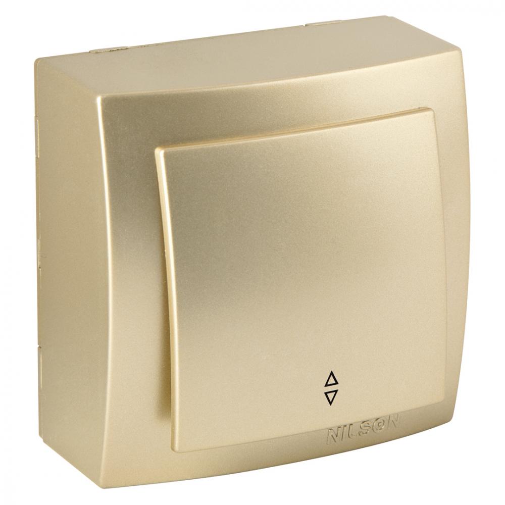 Выключатель nilson 1оп проходной золото themis metallic 26151007