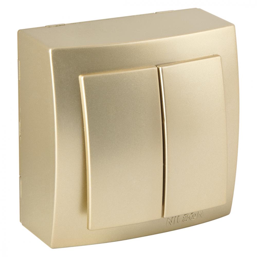 Выключатель nilson 2оп золото themis metallic 26151003
