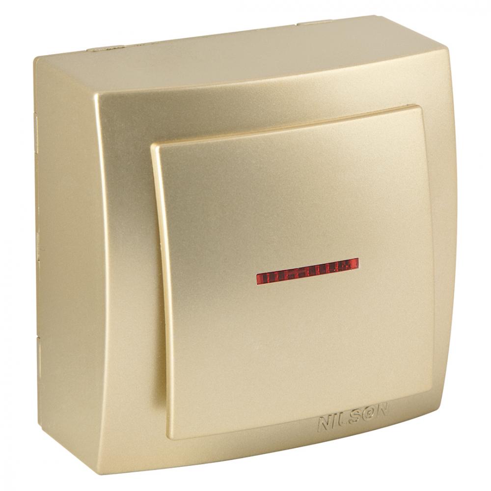 Выключатель nilson 1оп с подсветкой золото themis metallic 26151002
