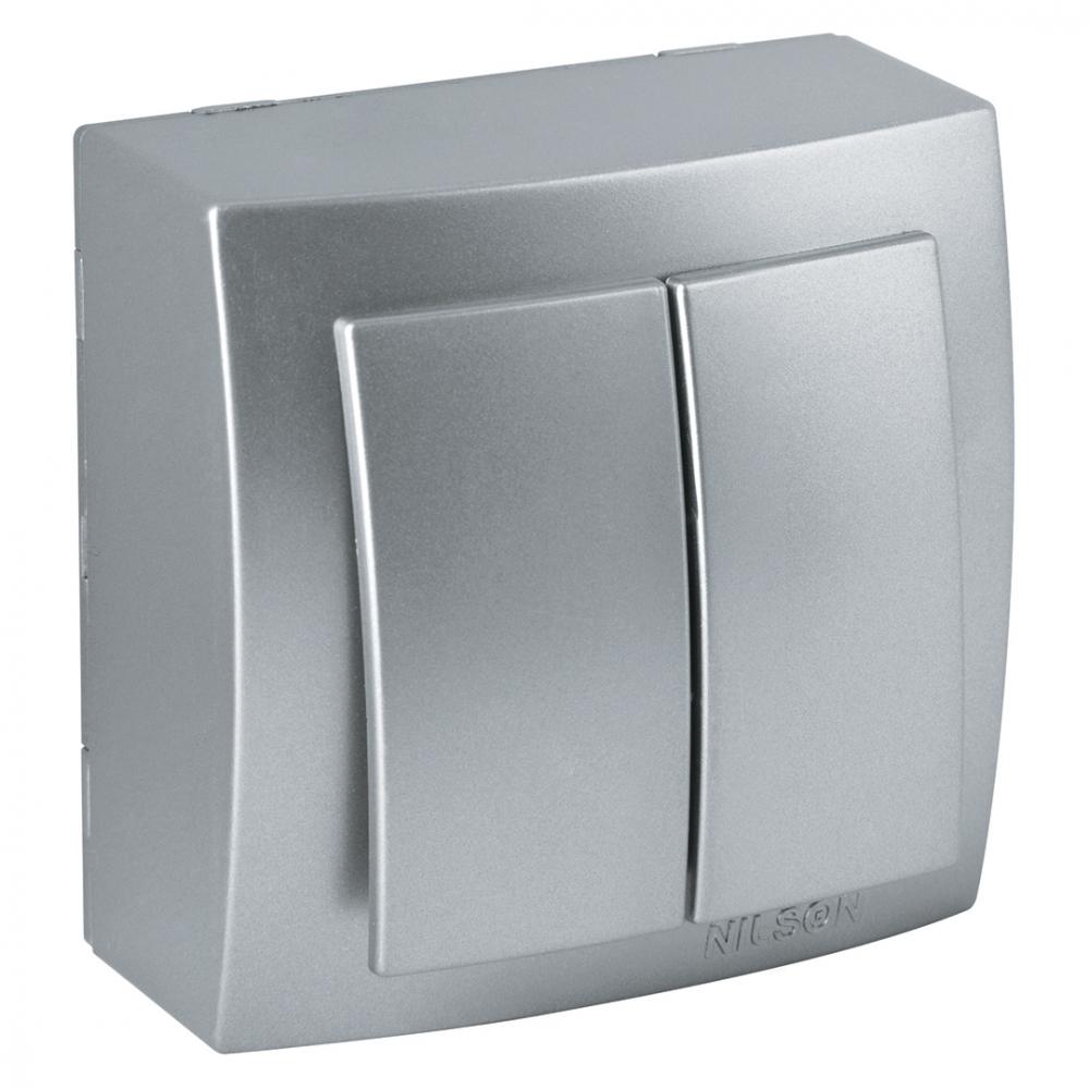 Выключатель nilson 2оп серебро themis metallic 26131003