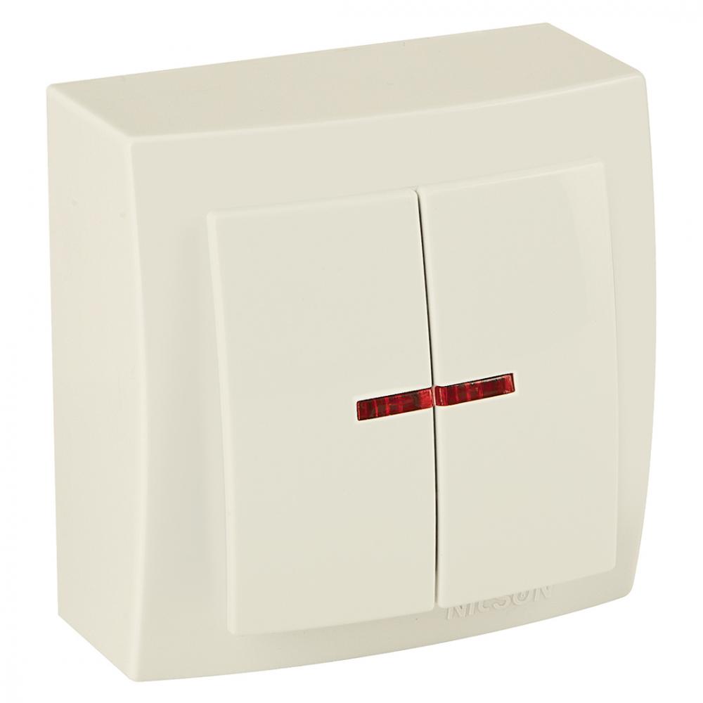 Выключатель nilson 2оп с подсветкой крем themis naturel 26121004