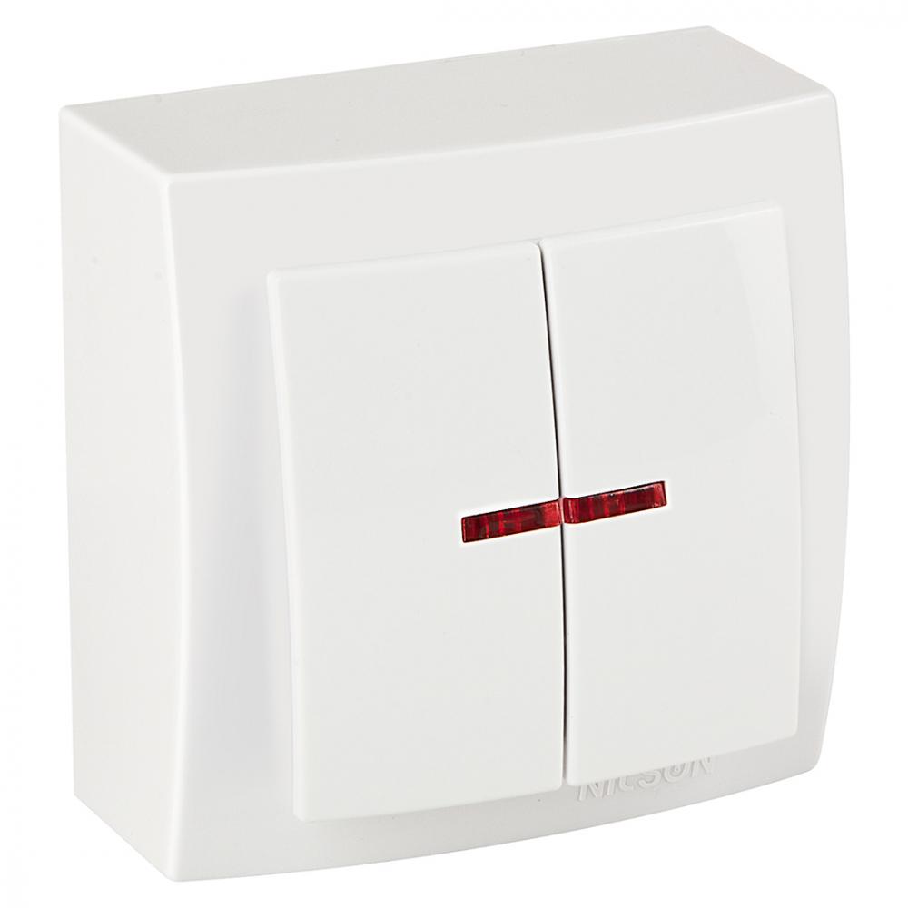 Выключатель nilson 2оп с подсветкой белый themis naturel 26111004
