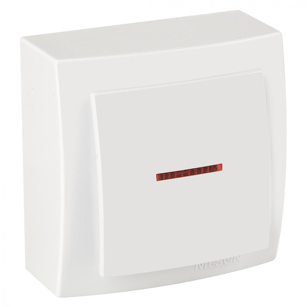 Выключатель nilson 1оп с подсветкой белый themis naturel 26111002