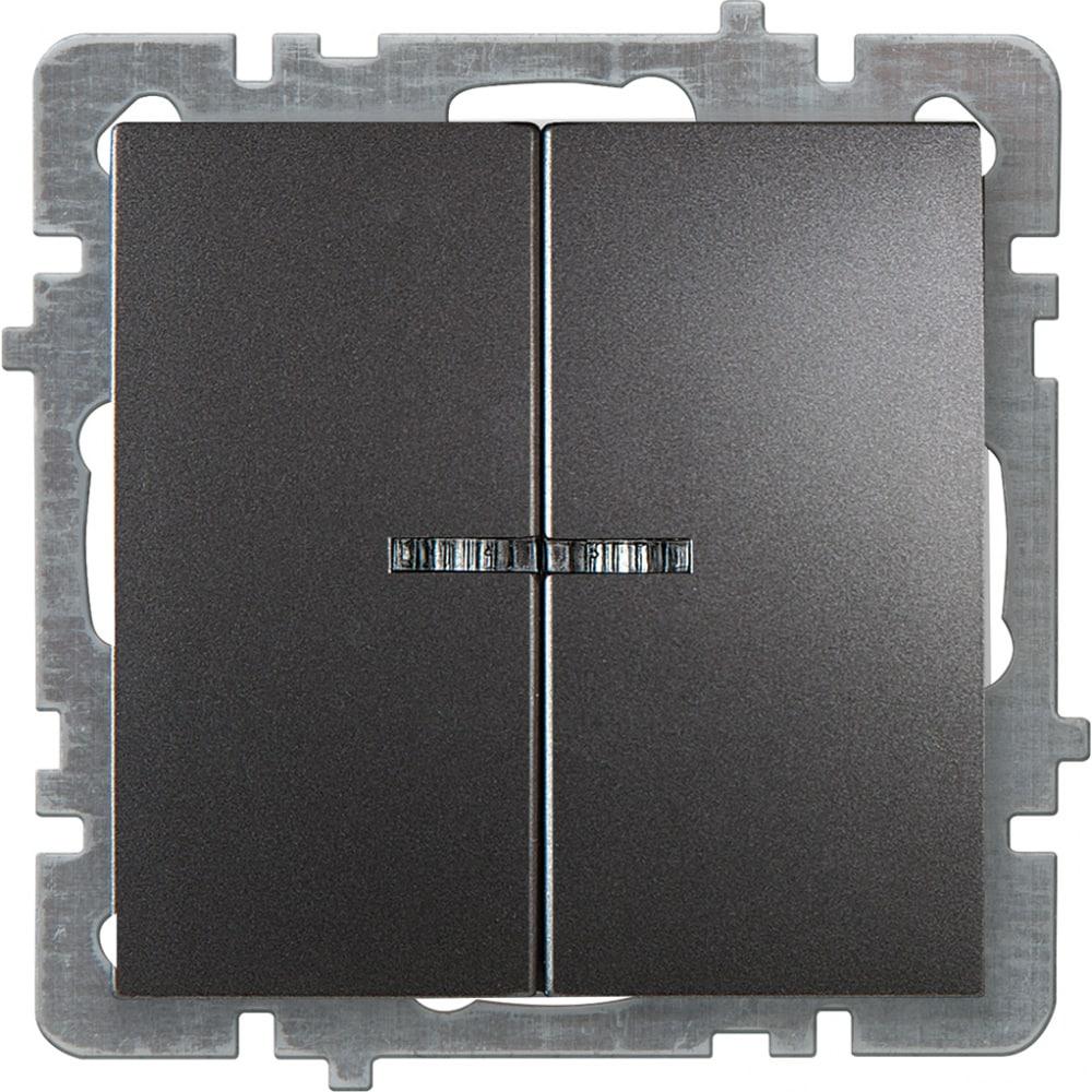 Механизм выключателя nilson 2сп с подсветкой антрацит touran/alegra metallic 24160404