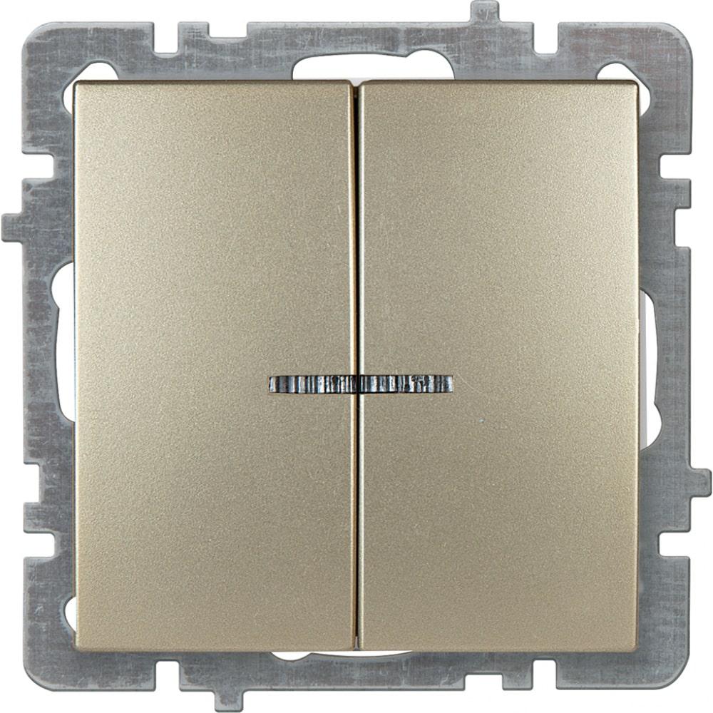 Механизм выключателя nilson 2сп с подсветкой золото touran/alegra metallic 24150404