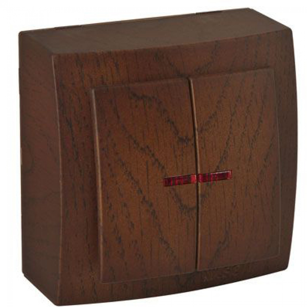 Выключатель nilson 2оп с подсветкой орех themis wood 26271004