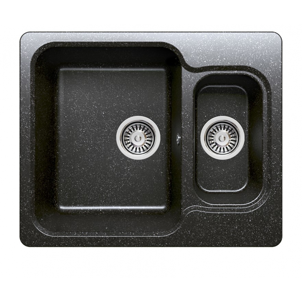 Кухонная мраморная мойка polygran f-09 черный №16