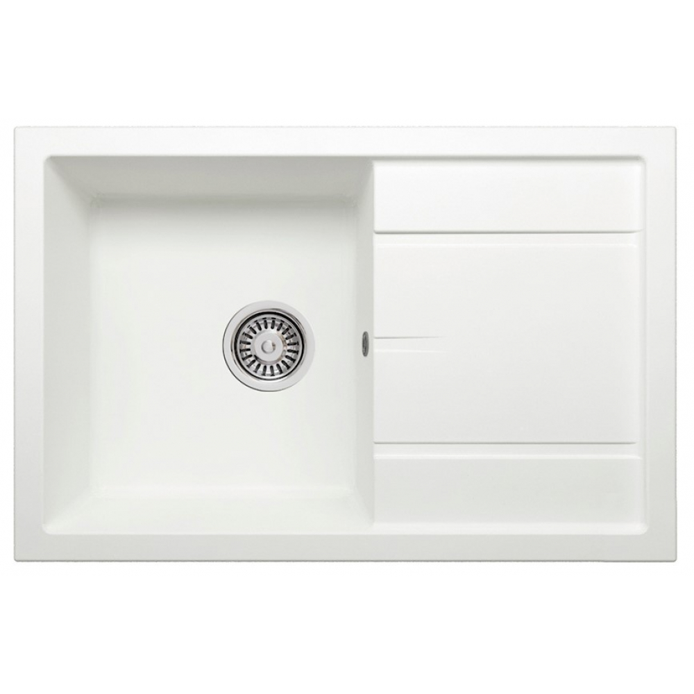 Кварцевая кухонная мойка tolero, цвет белый r-112 №923