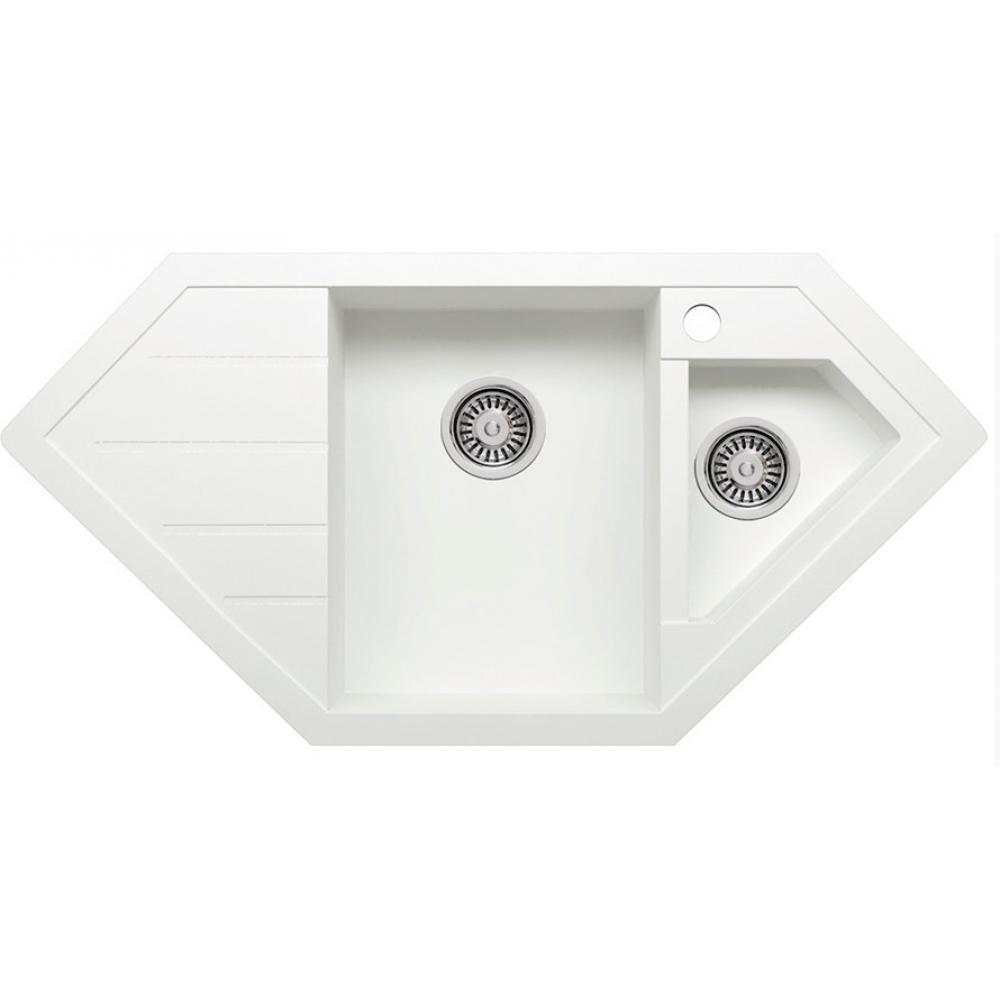 Кварцевая кухонная мойка tolero, цвет белый r-114 №923