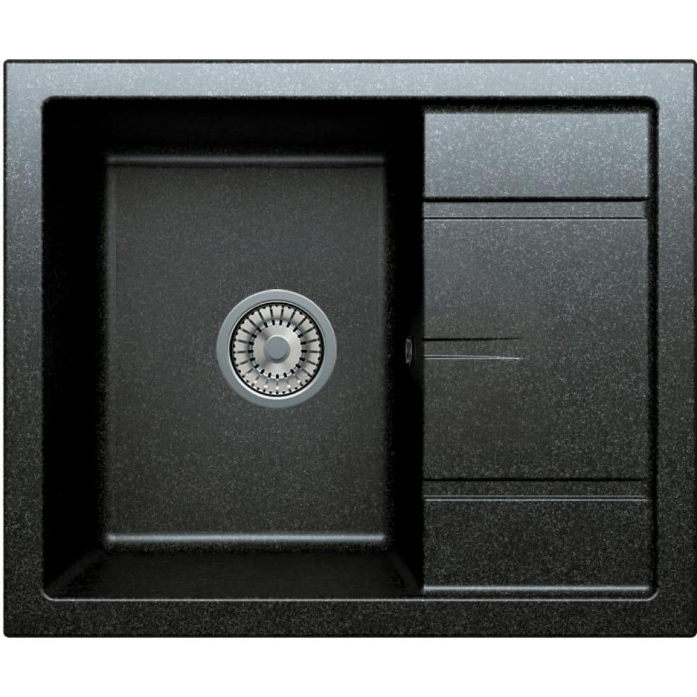 Кварцевая кухонная мойка tolero, цвет черный r-107 №911