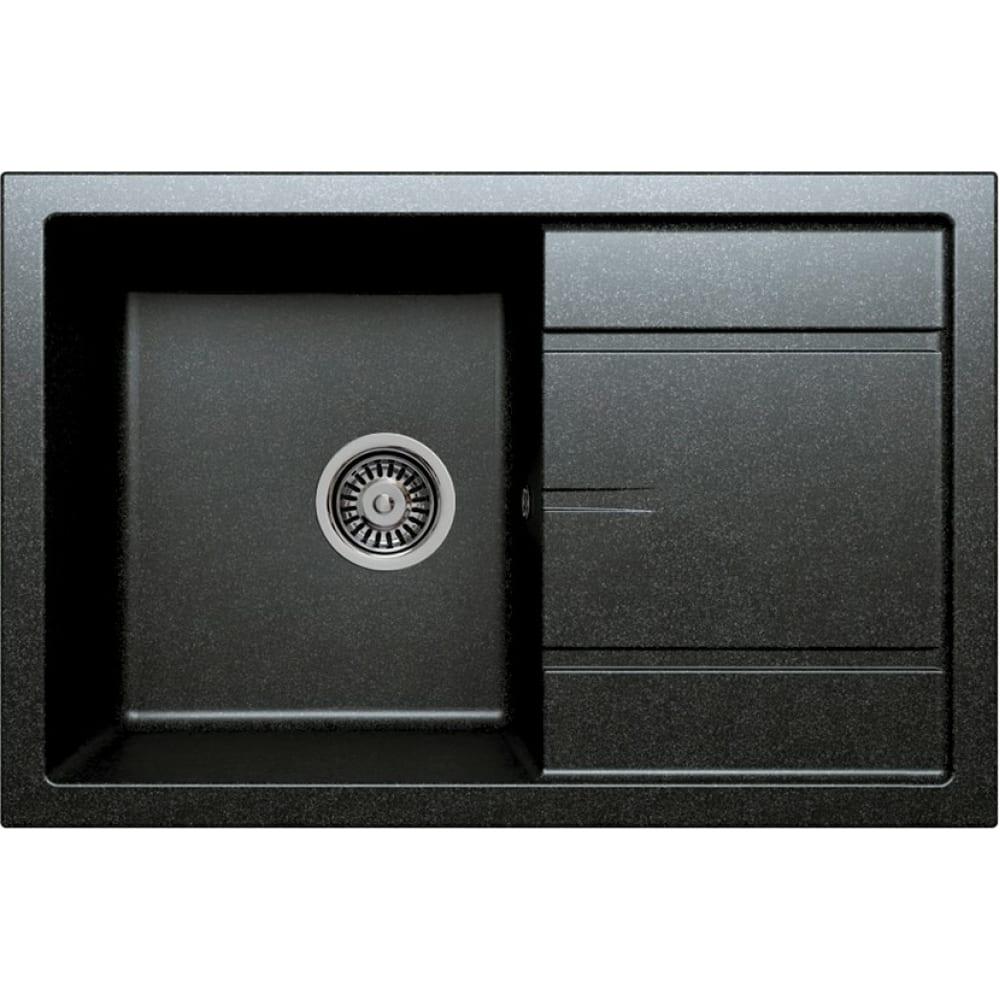 Кварцевая кухонная мойка tolero, цвет черный r-112 №911