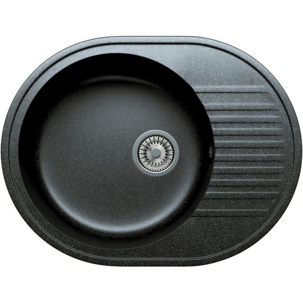 Кварцевая кухонная мойка tolero, цвет черный r-122 №911