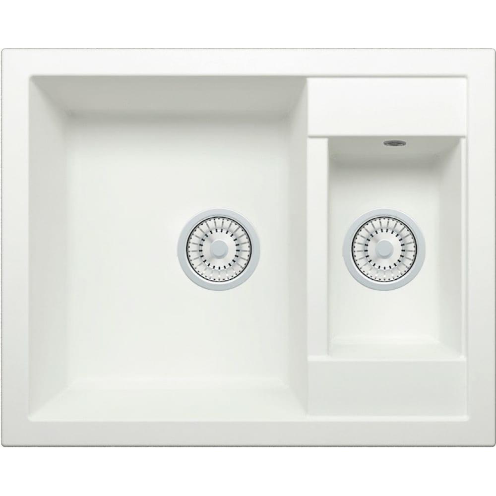 Кварцевая кухонная мойка tolero, цвет белый r-109 №923