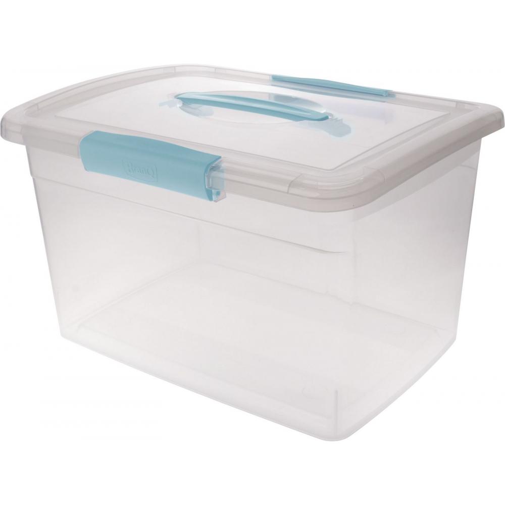Ящик дляхранения branq laconic с защелками и ручкой 11 л небесный прозрачный bq2524нбспр  - купить со скидкой
