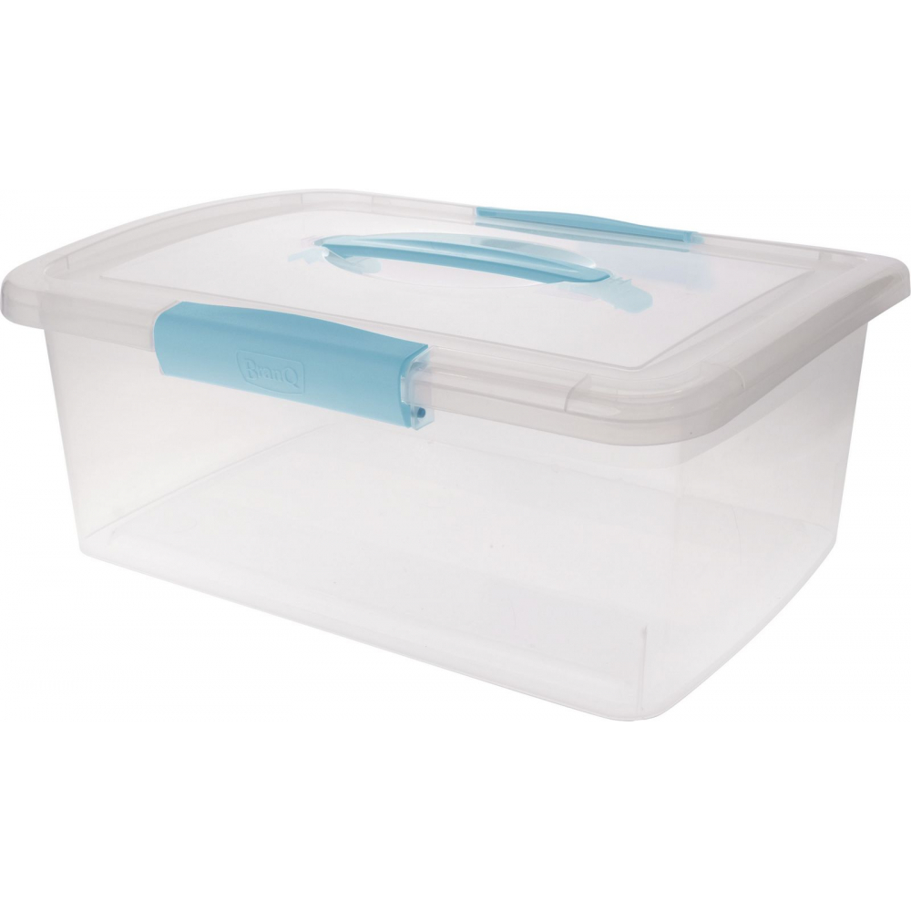 Купить Ящик дляхранения branq laconic с защелками и ручкой 7 л небесный прозрачный bq2522нбспр