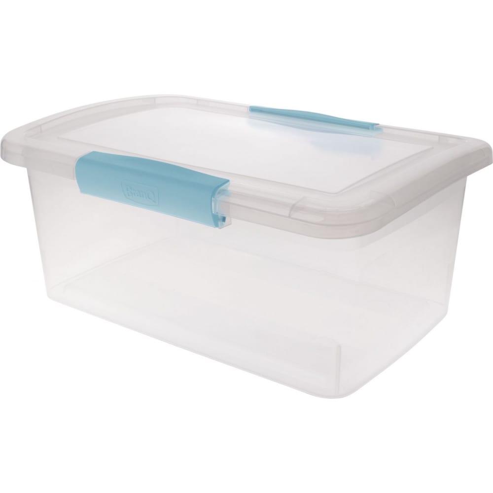 Ящик дляхранения branq laconic с защелками 9 л небесный прозрачный bq2513нбспр  - купить со скидкой
