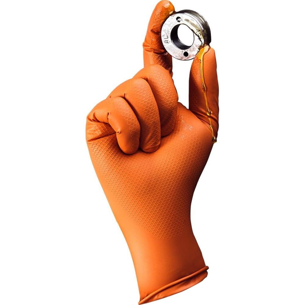 Купить Нескользящие одноразовые нитриловые перчатки jeta safety jsn natrix, оранжевые, размер xxl