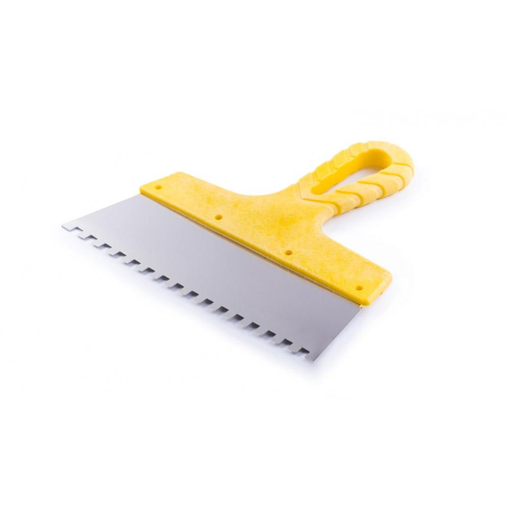 Купить Зубчатый шпатель из нержавеющей стали 300мм зуб 8х8мм jettools желтый шн/желт-300/8