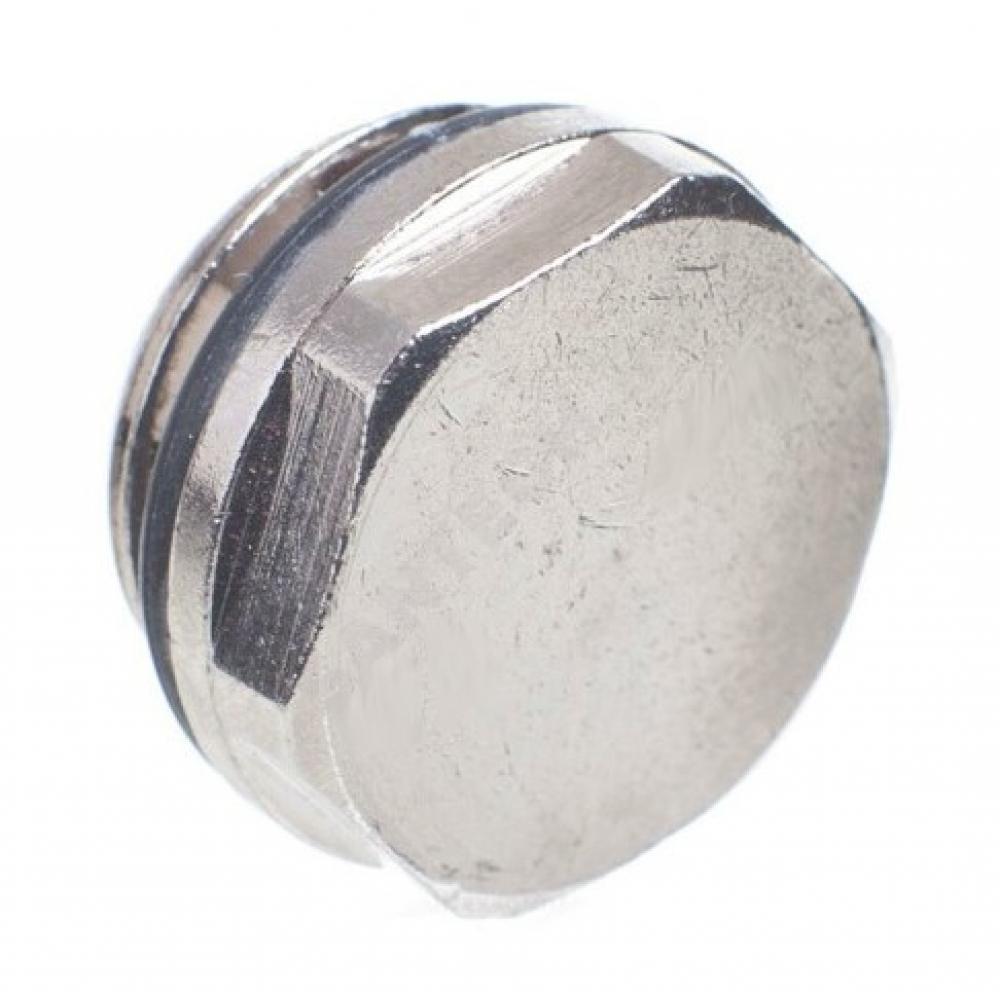 Заглушка пробка giacomini r92 1/2 для радиатора с прокладкой хром r92x003 117-6981