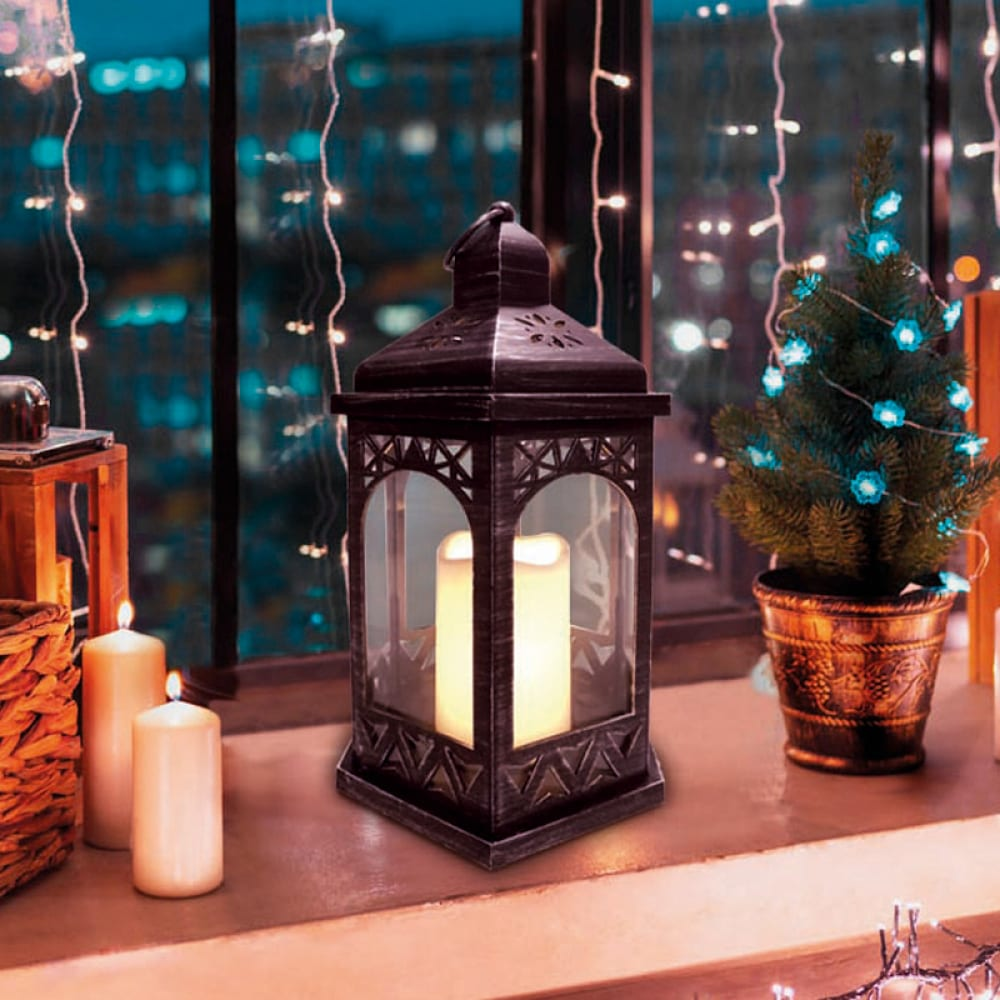 Декоративный фонарь со свечой neon night 18x16.5x31