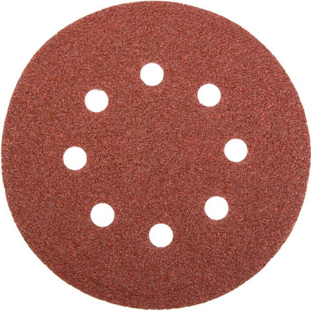Круг абразивный на липучке (10 шт; 125 мм; р100; 8 отверстий) skrab 35755