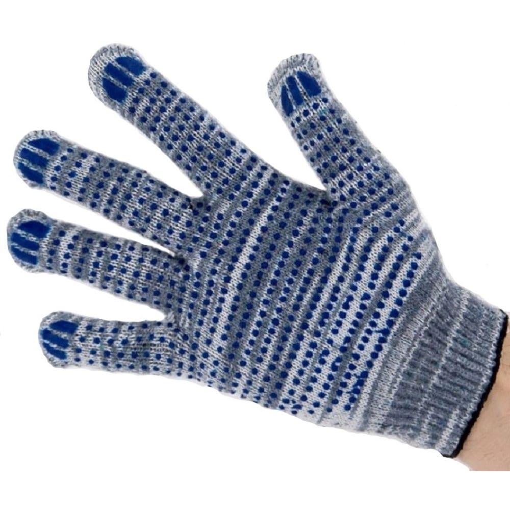 Хлопчатобумажные перчатки с пвх-точкой bull, 10 класс, 5 нитей, серые, 10 штук, prx1052