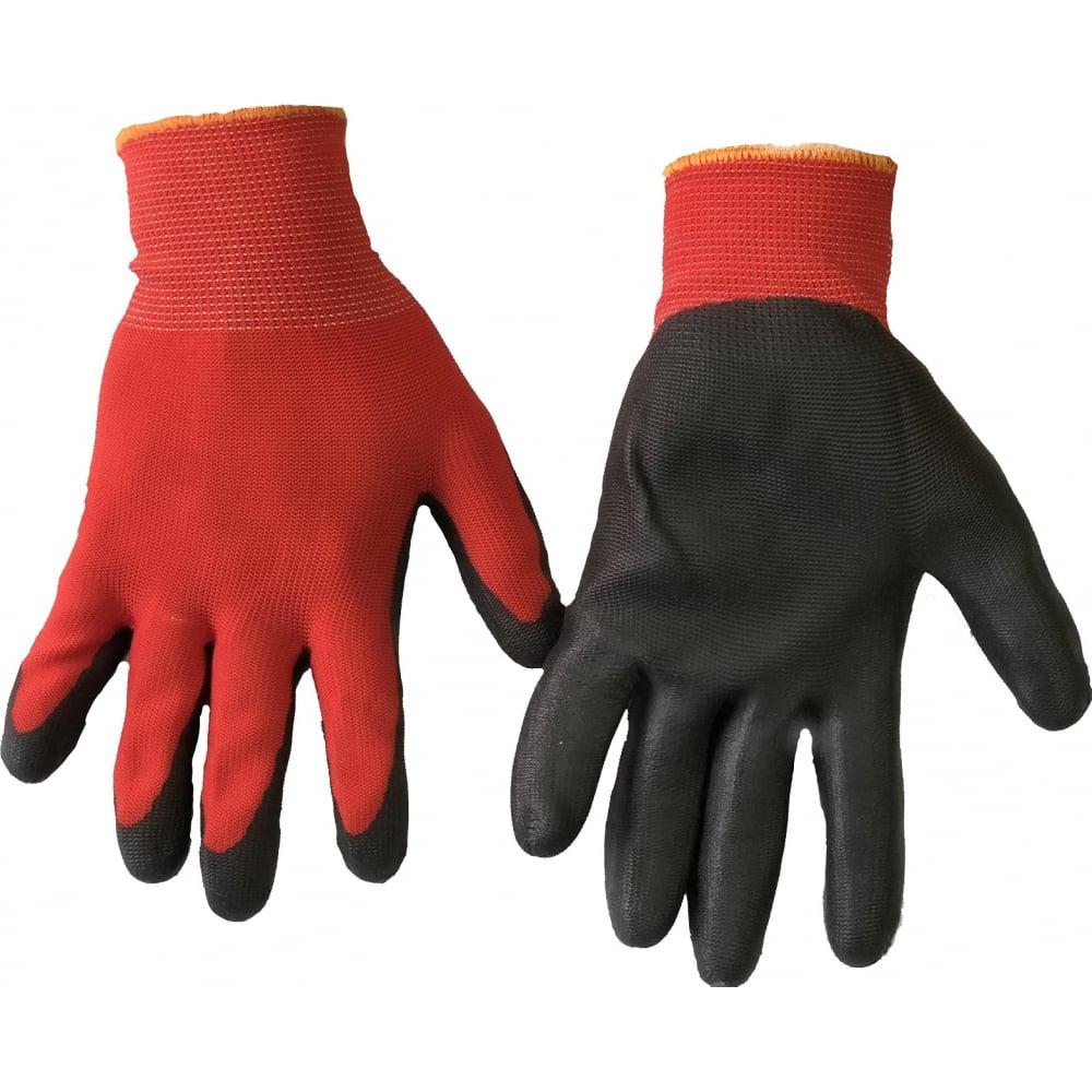 Нейлоновые перчатки с латексным обливом bull, красно-черные, prk133