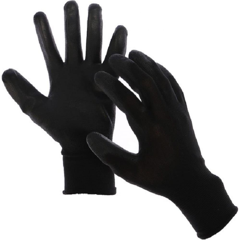 Нейлоновые перчатки с латексным обливом bull, 43 гр, черные, 12 штук, prc243