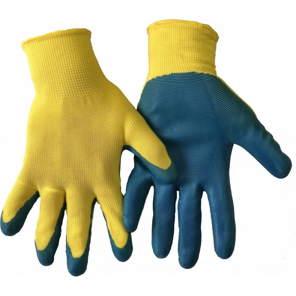 Нейлоновые перчатки с латексным обливом bull, 43 гр, желто-синие, 12 штук, prz143