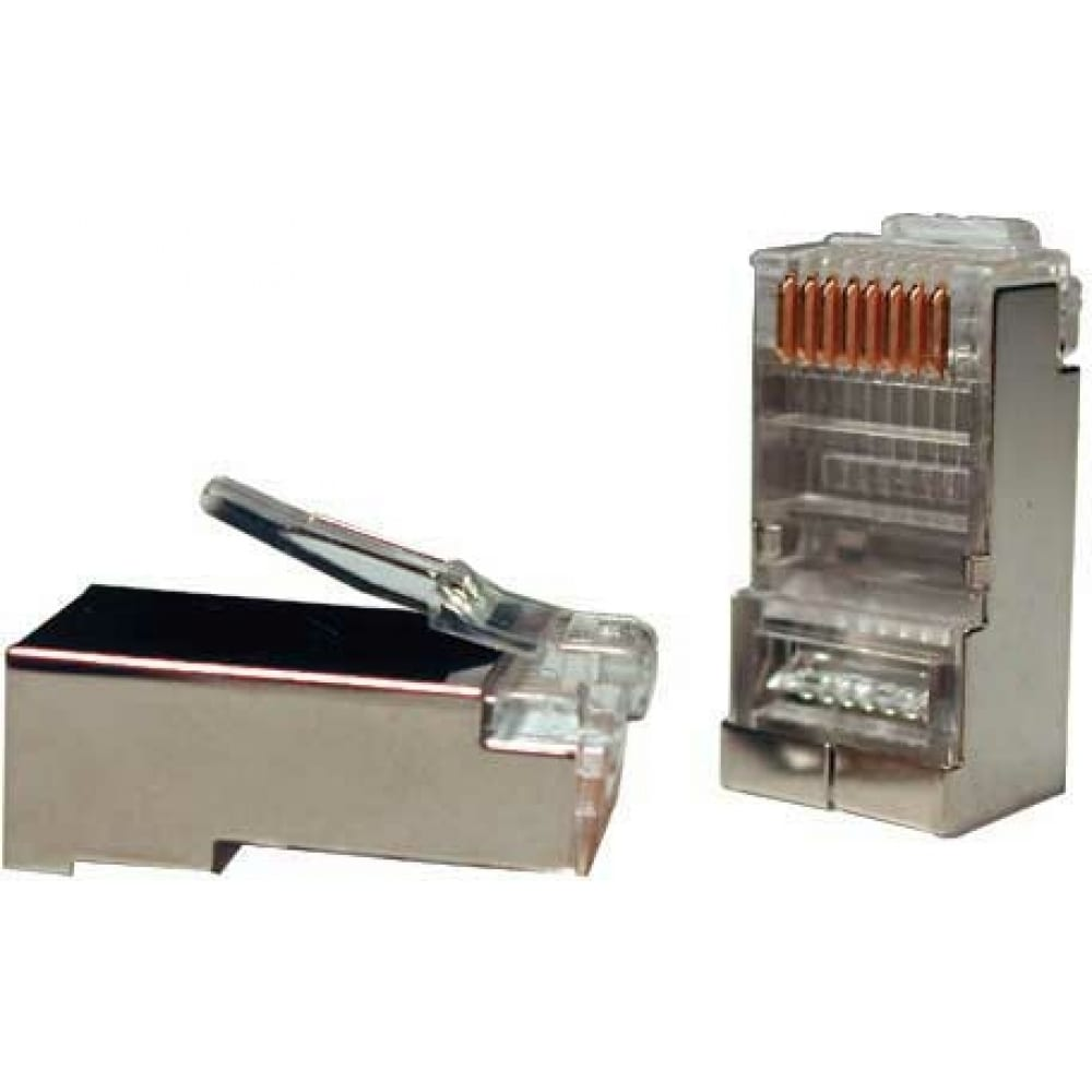 Купить Экранированный универсальный разъем hyperline plug-8p8c-u-c5-sh-100 rj-458p8c под витую пару, категория 5e, 50 микродюймов, для одножильного и многожильного кабеля