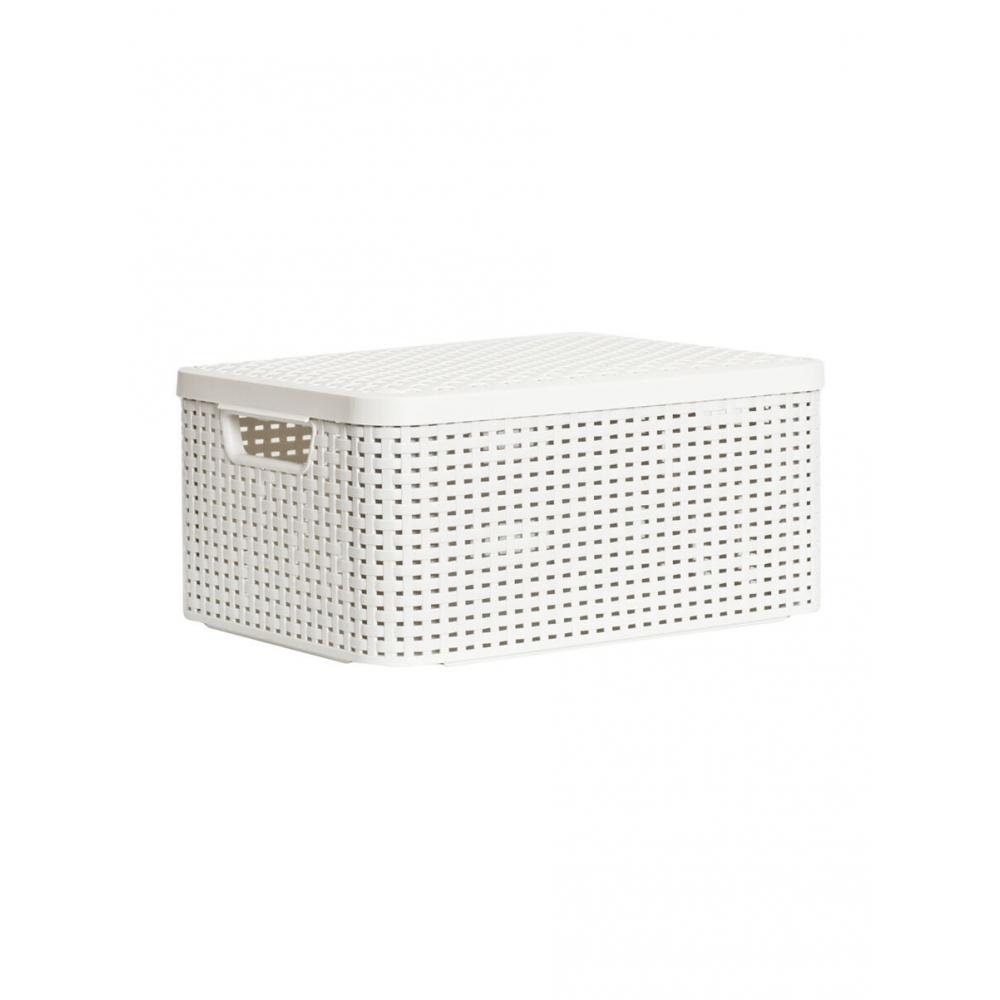 Купить Корзина curver rattan style box m + крышка кремовая 03618-885