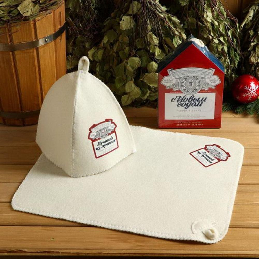 Купить Набор банная забава, с новым годом, шапка/коврик, 4997471
