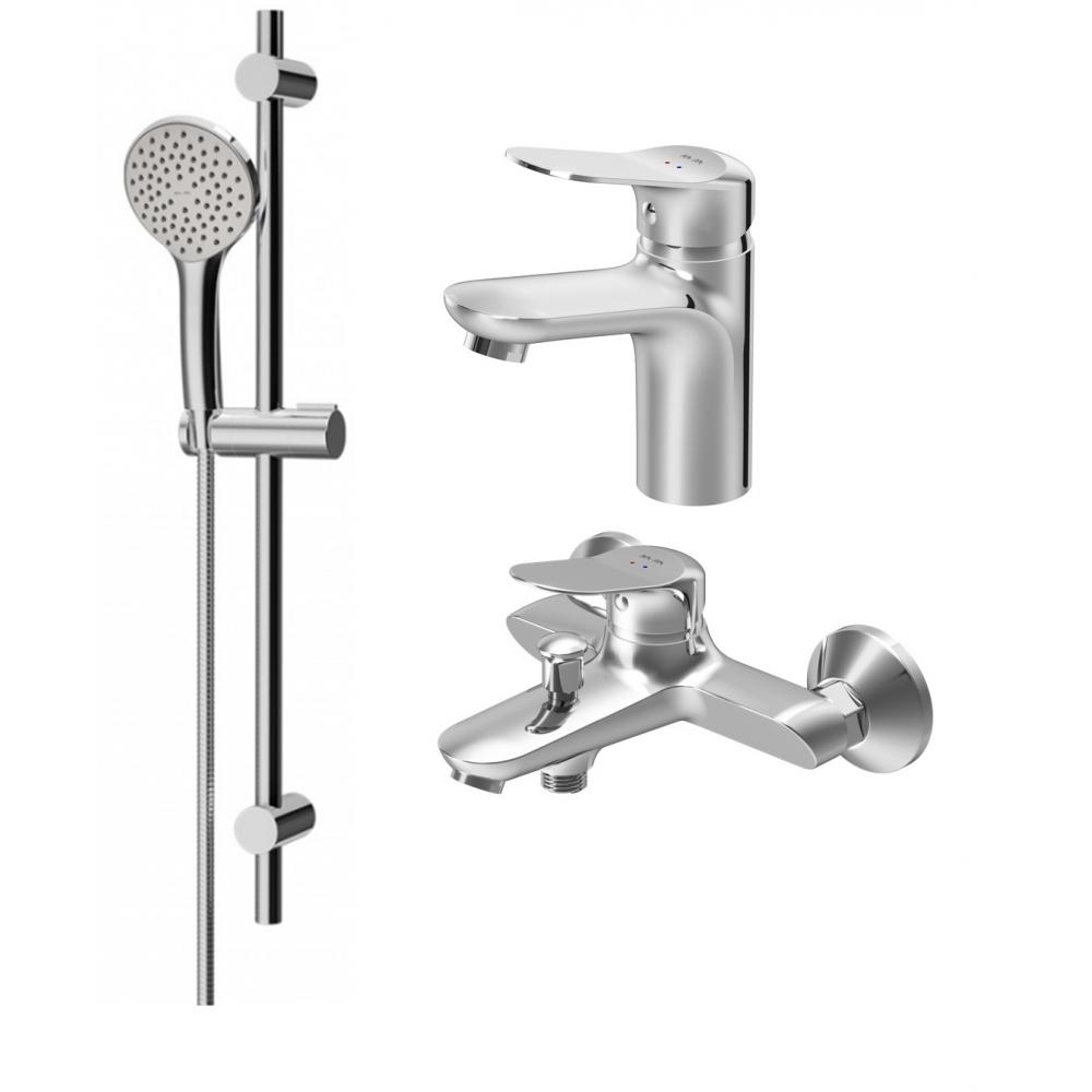Купить Набор 3в1: смеситель для умывальника, смеситель для ванны и душа, душевой комплект am.pm sunny f40985c00
