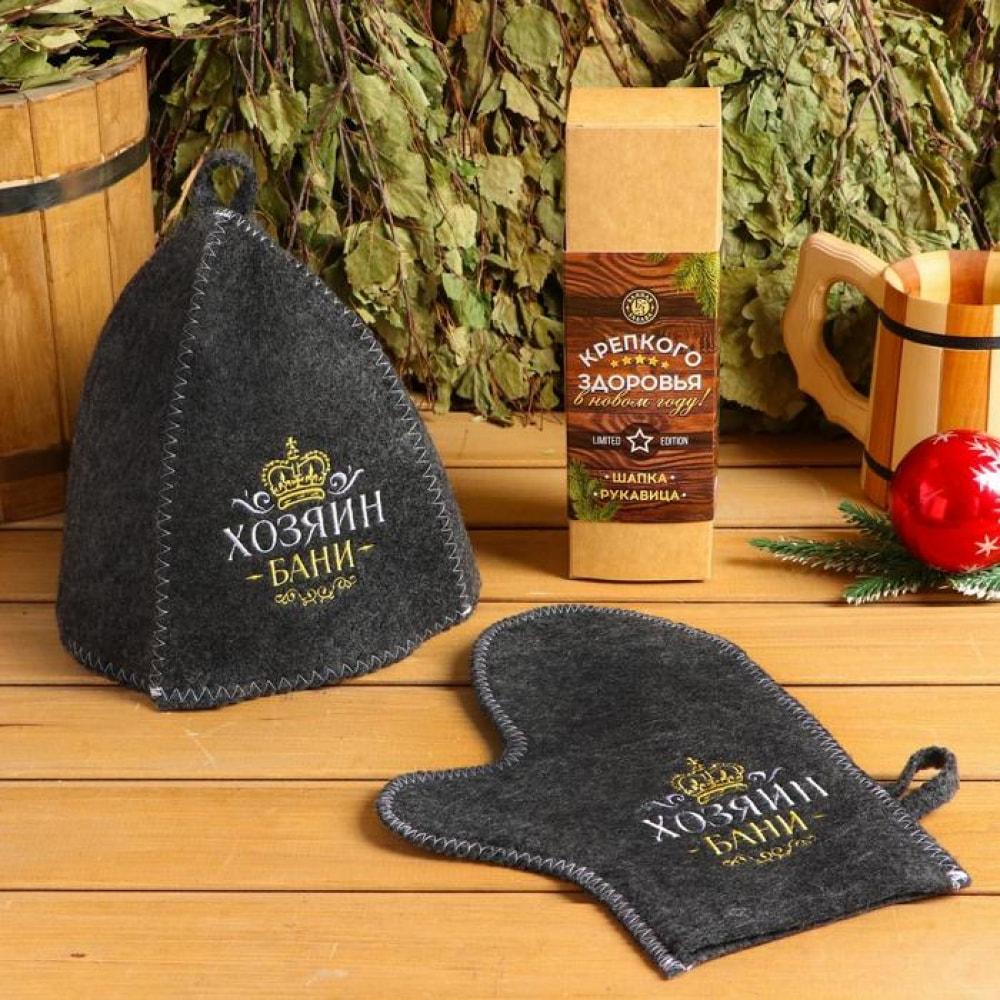 Купить Набор банная забава крепкого здоровья, шапка вышивка/рукавица вышивка, 4371738