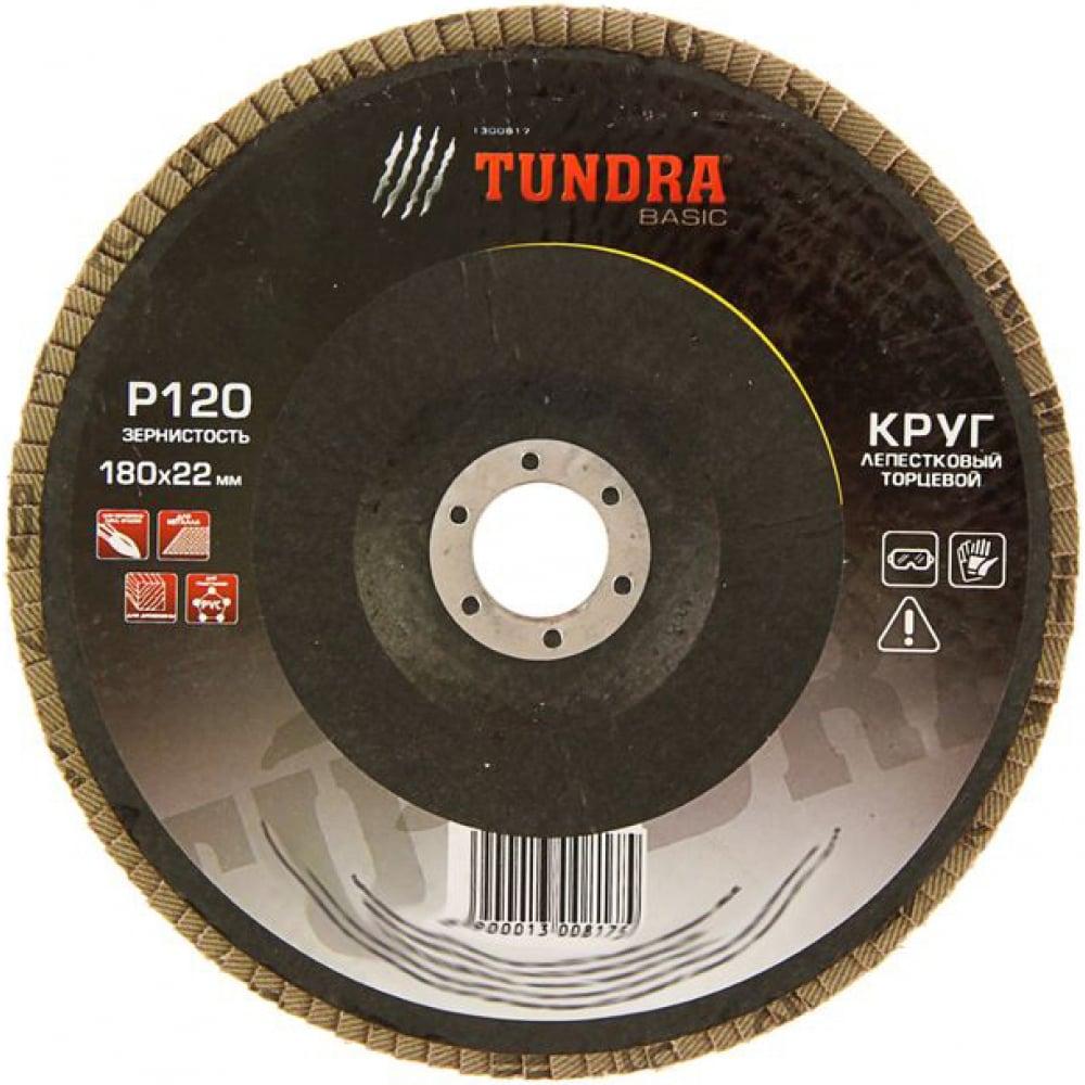 Купить Круг лепестковый торцевой (180х22 мм; р120) tundra 1300817