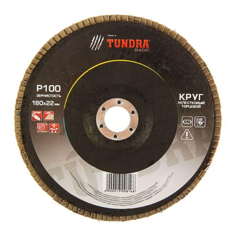 Купить Круг лепестковый торцевой (180х22 мм; р100) tundra 1300816