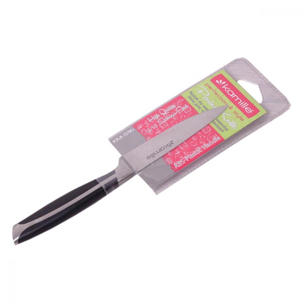 Купить Нож для чистки овощей из нержавеющей стали с ручкой из abs kamille лезвие 10см; рукоятка 11см 5116