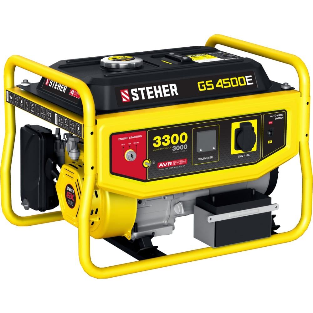Купить Бензиновый генератор steher с электростартером, 3300 вт, 7 лс двигатель, 220 в, 44 кг, gs-4500е