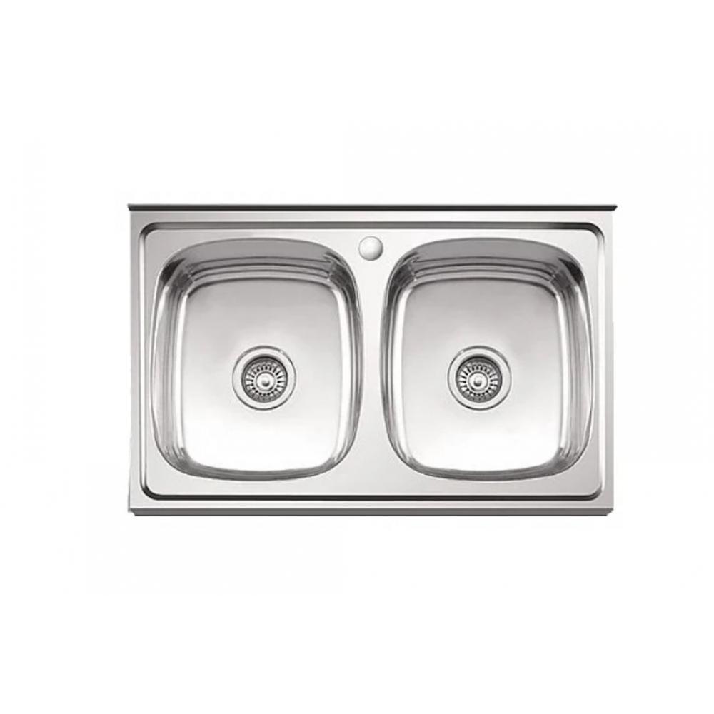 Купить Мойка ledeme нержавеющая сталь, накладная, 800x500x180 мм, 0.8 мм, выпуск 3 1/2, двойная глянцевая l98050b 97938