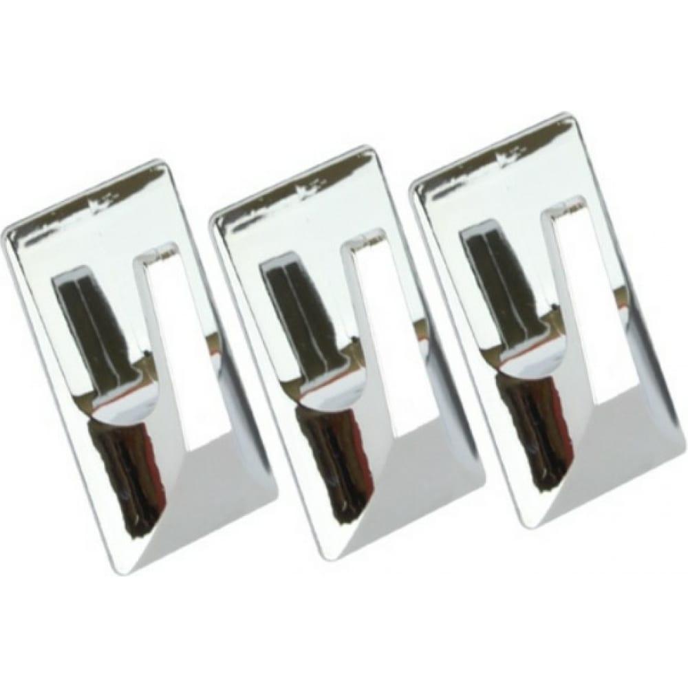 Купить Крючки kleber пластик на липкой ленте 5 см, хром 3 шт. kle-sg002