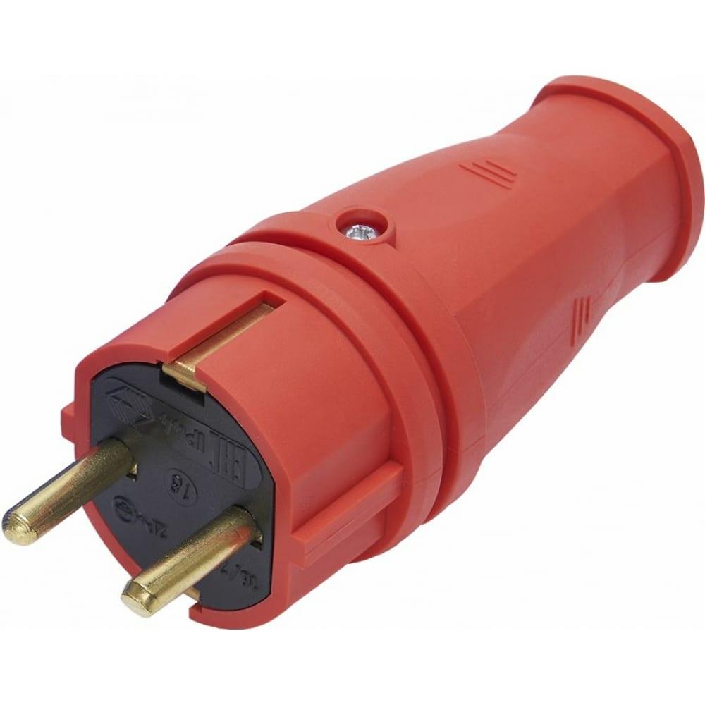 Купить Вилка stekker прямая с заземляющим контактом, каучук 250в, 16a, ip44, красная, rpg16-21-441 39160
