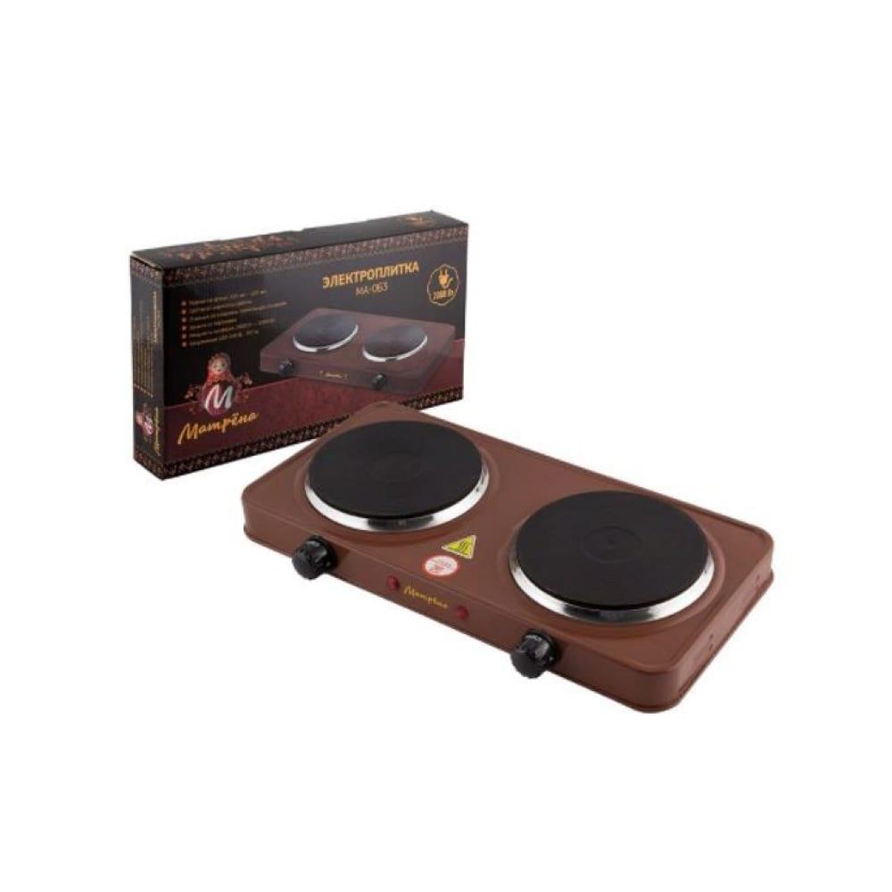 Купить Электроплитка матрёна ма-063, коричневый, блин, 2 конфорки 006059