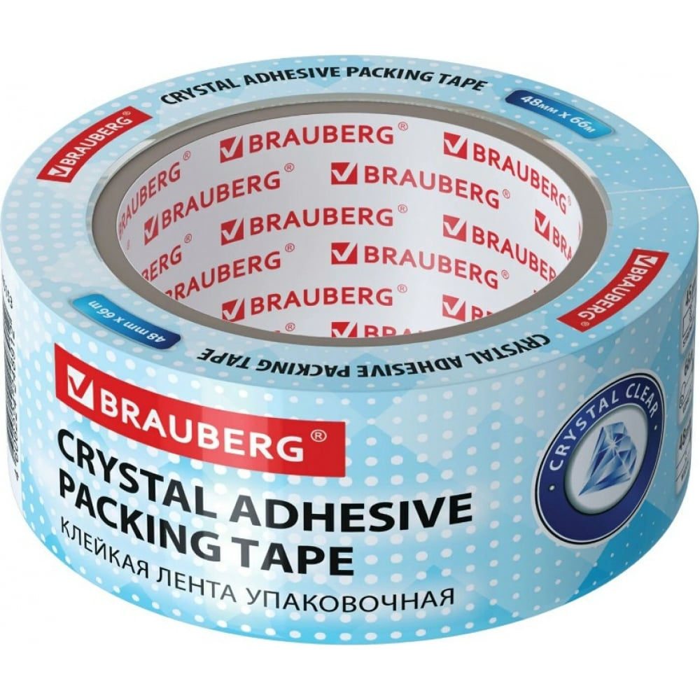 Купить Упаковочная клейкая лента brauberg кристальная 48 мм х 66 м, 45 микрон 440153